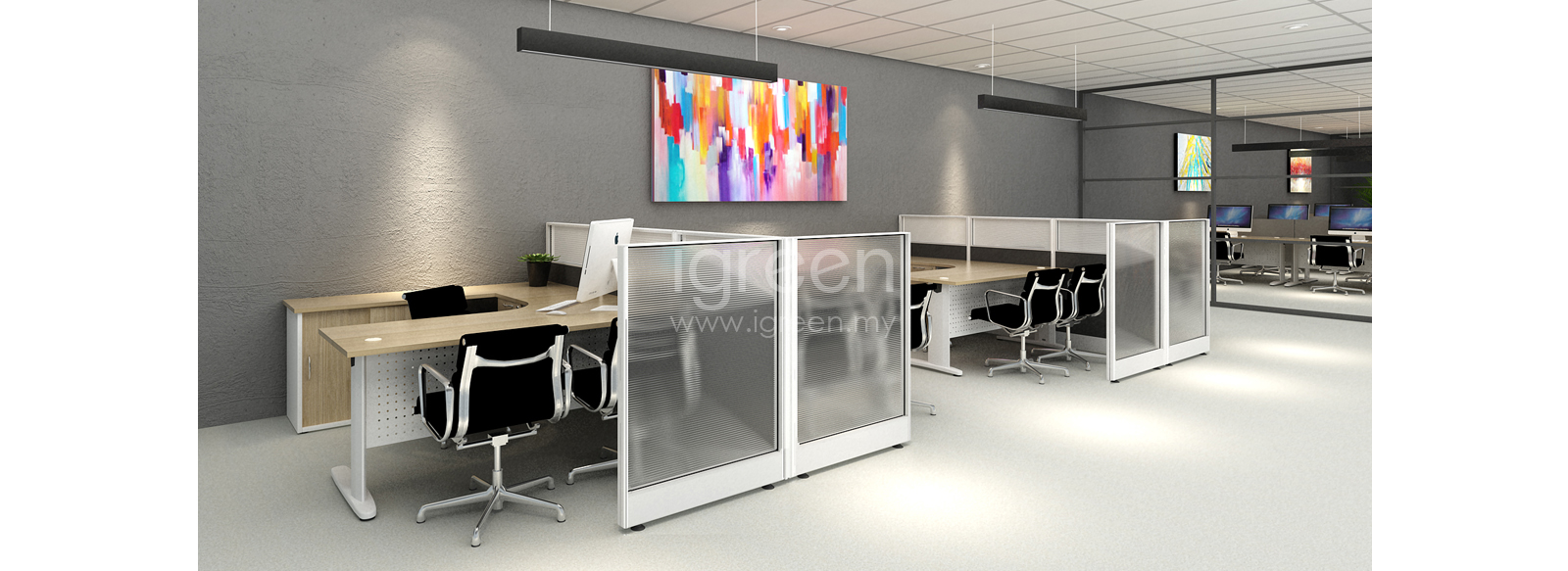 Pentagon Modern Private Workstation Divider Concept Malaysia
